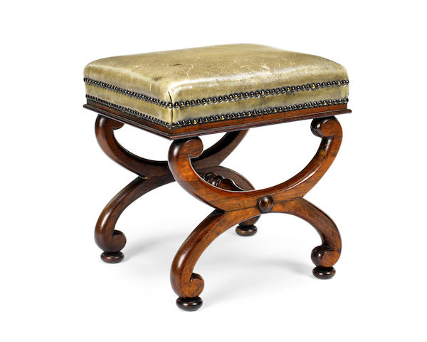 A 19th century rosewood X-frame stool