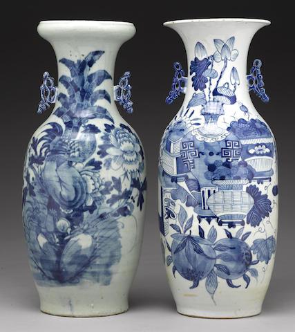 Two underglaze blue and celadon glazed baluster vases