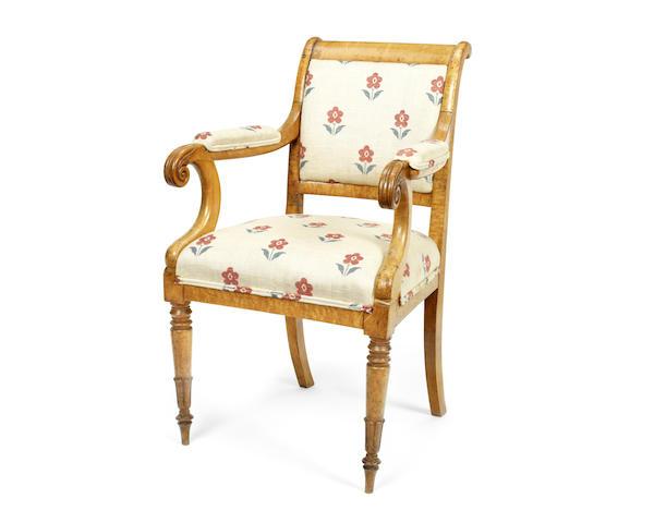 A Charles X birds' eye maple fauteuil