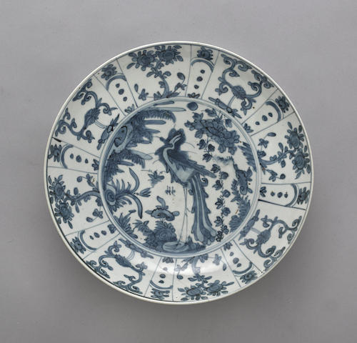 A blue and white Swatow ware dish