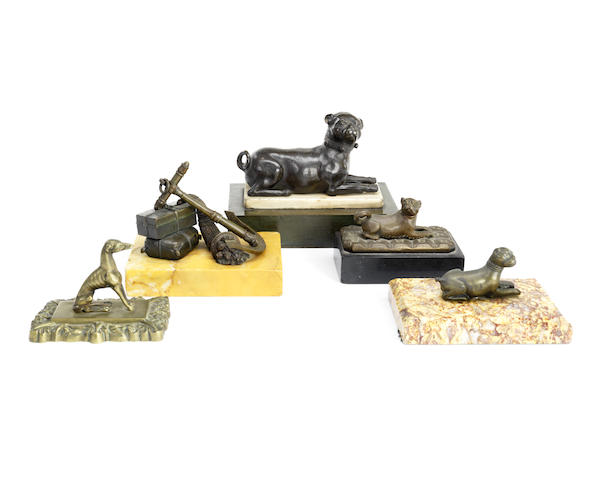 A collection of five 19th century bronze paperweights