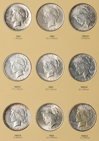 Library of Coins Peace Type Silver Dollars Set 1921-1935