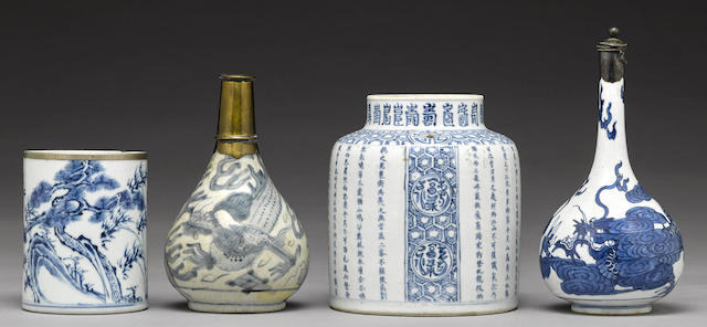 A group of four blue and white wares