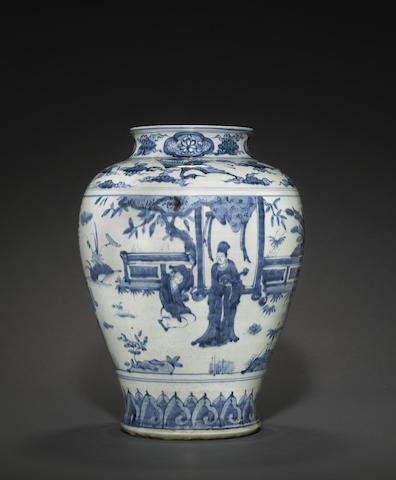 A blue and white porcelain storage jar, guan