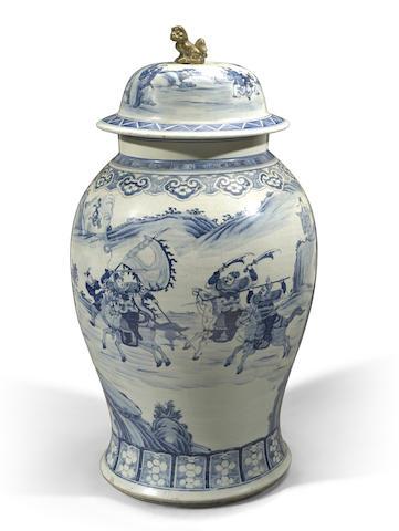 A massive blue and white lidded jar