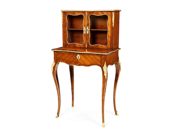 A small French 19th century gilt bronze mounted tulipwood bonheur du jour