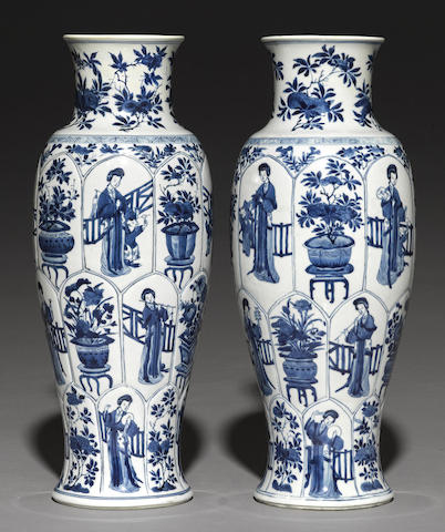 A pair of blue and white baluster vases