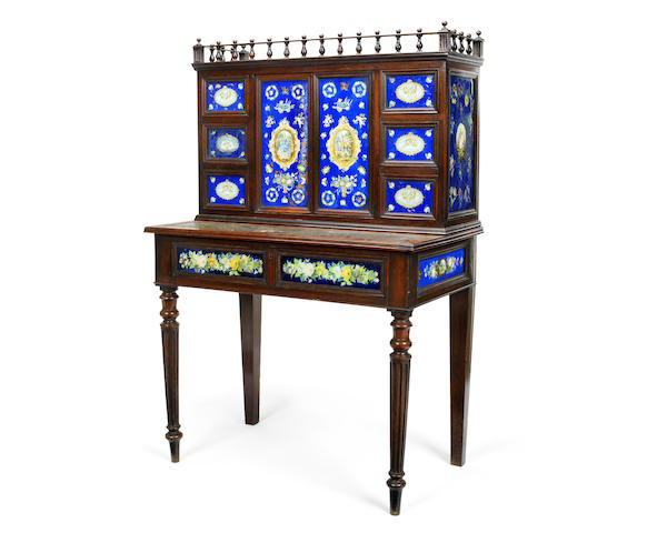 A mid Victorian rosewood and decalcomania decorated glass-mounted lady's writing table