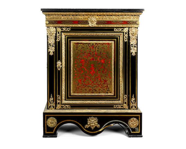 A Napoleon III gilt bronze mounted ebonised, brass and tortoiseshell inlaid pier cabinet