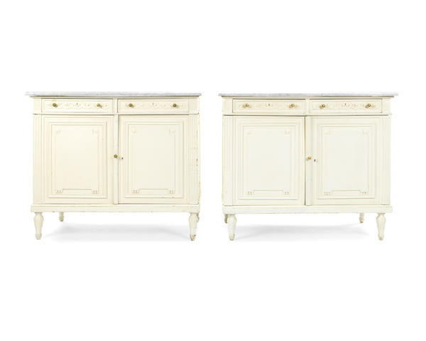 A pair of French early 20th century and later painted side cabinets