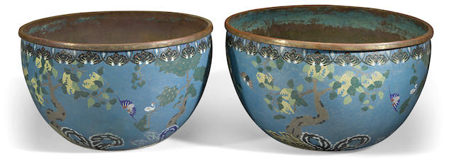 A pair of cloisonné enameled metal planters