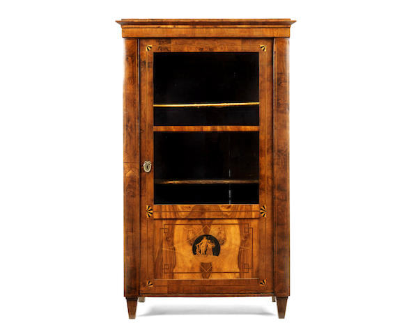 An Austrian early 19th century walnut, ebonised and marquetry display cabinet