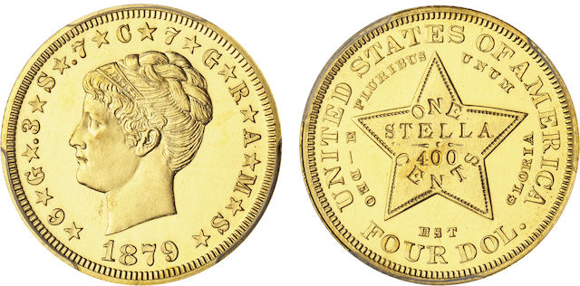 1879 $4 Coiled Hair Stella, Gilt Copper Pattern, Judd-1639a, Pollock-1839, Low R.7, Proof 64 PCGS