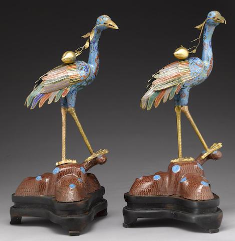 A pair of cloisonné enameled cranes