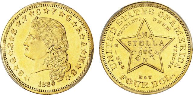 1880 $4 Flowing Hair Stella, Gilt Copper Pattern, Judd-1658a, Pollock-1858, Low R.7, Proof 63 PCGS