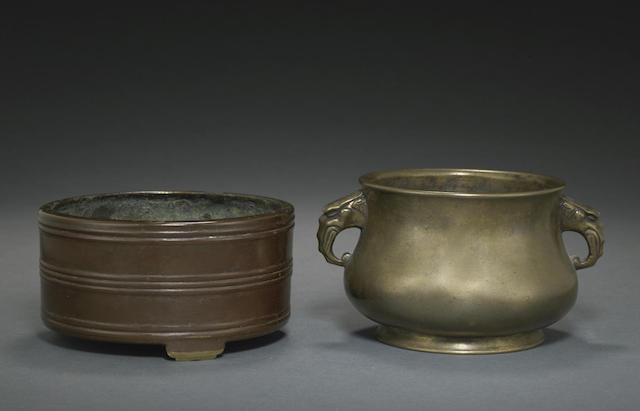 Two small bronze censers