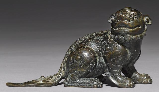 A Ming style bronze fu-lion