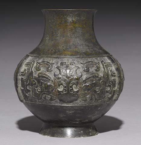 An archaistic bronze hu-form vase