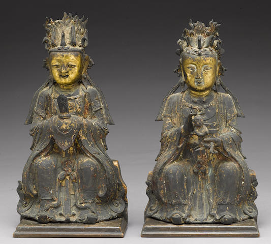 Two gilt-accented bronze Daoist female divinities