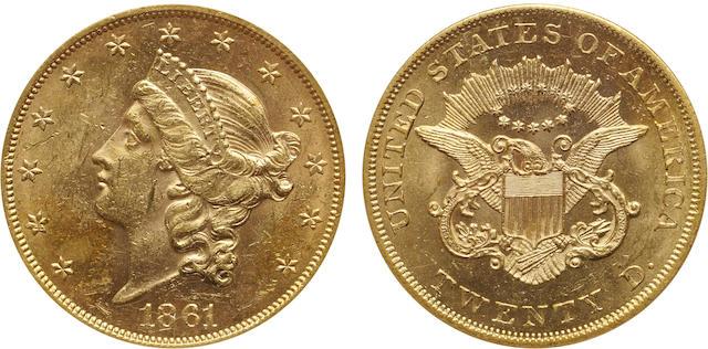 1861 $20 MS61 PCGS
