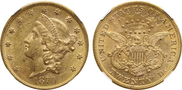 1870-S $20 MS61 NGC