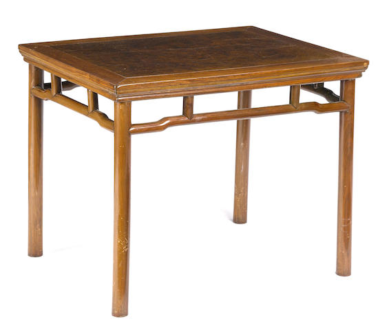 A mixed wood and burl rectangular side table