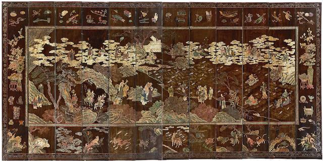 A twelve-panel coromandel screen