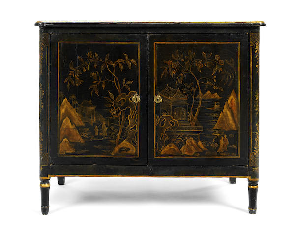 A late 18th century japanned side cabinet