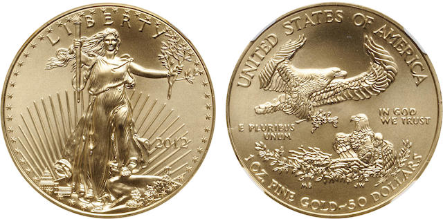 2012 $50 One-Ounce Gold Eagle MS70 NGC