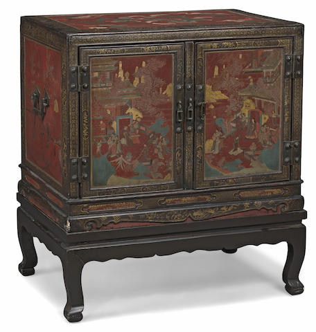 A lacquered wood cabinet