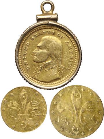 1903 Louisiana Purchase / Jefferson G$1, and Louisiana Purchase Gold Tokens (2)