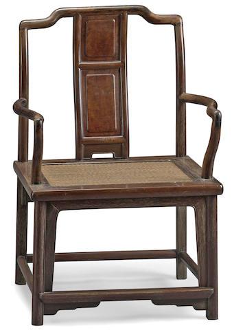 A hardwood armchair