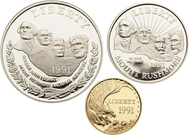 1991 Mount Rushmore Three Coin Proof Sets (3)