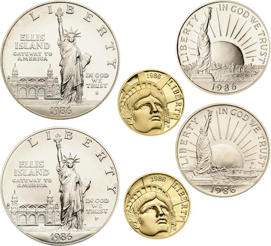 1986 6 Coin Proof and Mint State Statue of Liberty Sets (3)
