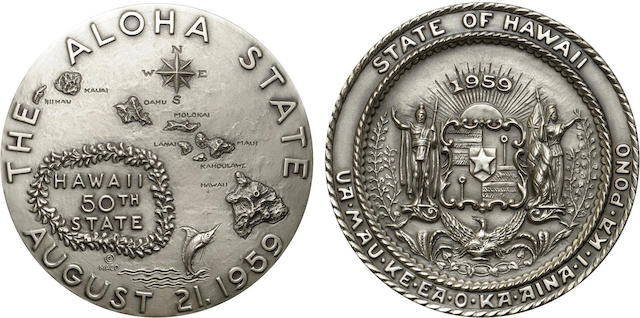 1959 Official Hawaii Statehood Silver Medal