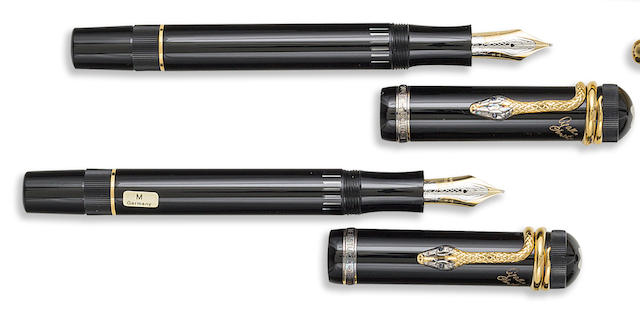 MONTBLANC: Lot of Two Agatha Christie Vermeil Writers Series Limited Edition 4810 Fountain Pens