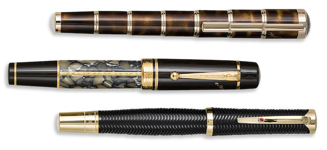MONTBLANC: Lot of Three Writers Series Limited Edition Fountain Pens