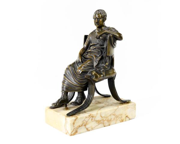 A 19th century Italian Grand Tour bronze figure of a Roman senator
