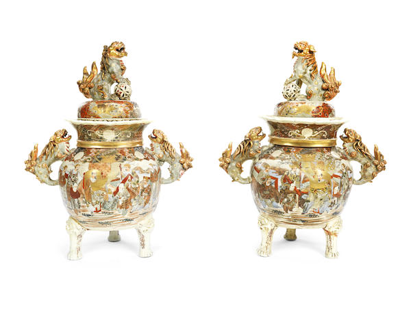 A pair of impressive Japanese Satsuma earthenware hall vases and covers