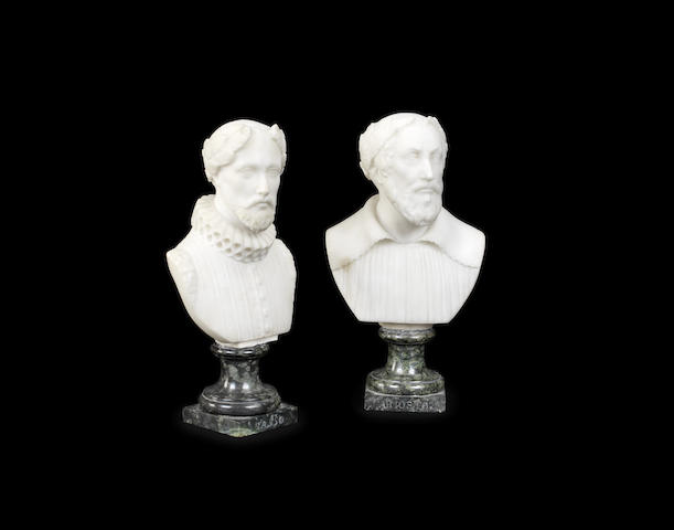 A pair of early 19th century Italian alabaster and Verde Antico marble busts of Tasso and Ariosto