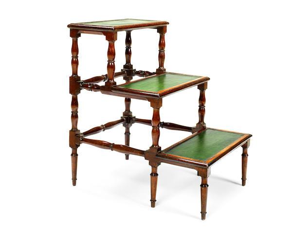 A set of mid 19th century mahogany library steps