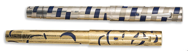 OMAS: Lot of Two UNICEF Solid Gold and Sterling Silver Limited Edition Fountain Pens