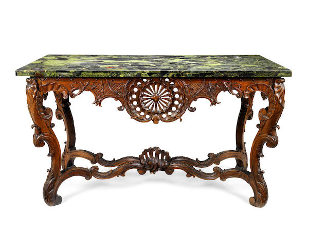 A French 18th/19th century 'Regence' oak console table