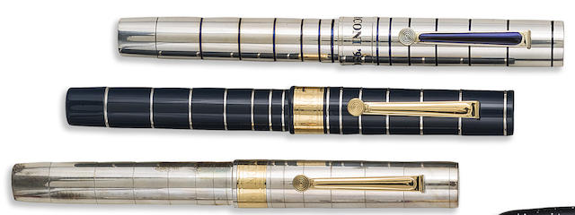 OMAS: Marconi 100 Anni di Radio '95 QSL Lot of Three Sterling Silver & Blue Resin Limited Edition Fountain Pens