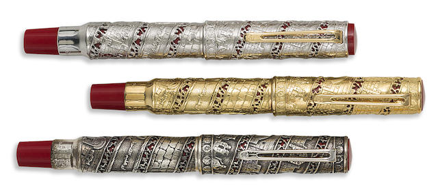 OMAS: Jerusalem 3000 Platinum, Solid Gold & Sterling Silver Lot of Three Limited Edition Fountain Pens