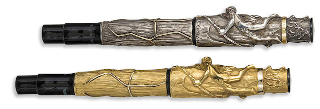 STIPULA: Prometheia Pair of Gold and Silver-Plated Limited Edition 198 & 398 Fountain Pens