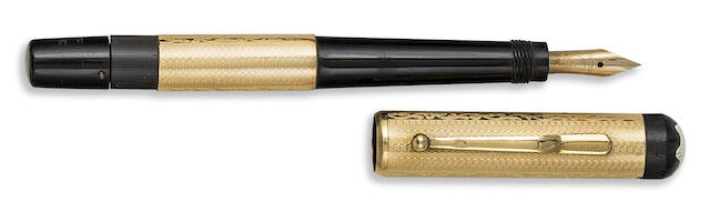 MONTBLANC: No. 2M 18K Solid Gold Safety Fountain Pen, Guilloche with Foliate Bands, c.1928