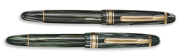 MONTBLANC: Pair of No. 142 Grey and Green Striated Fountain Pens