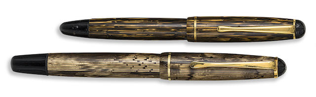 MONTBLANC: Pair of Yellow-Gold Vertical Striped Fountain Pens