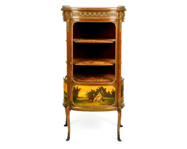 A French late 19th century gilt bronze mounted mahogany and Vernis Martin vitrine